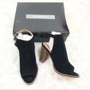 Sociology 9.5 Fringe Peep Toe Heels Shoes Black